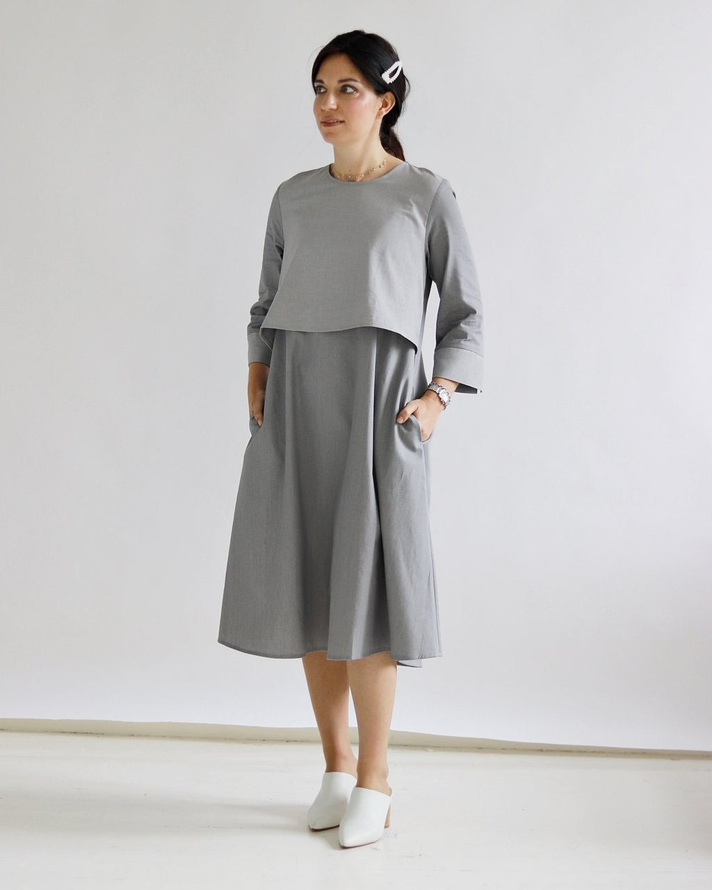 Aviva Bib Dress - Sarah Feldman Modest Clothing