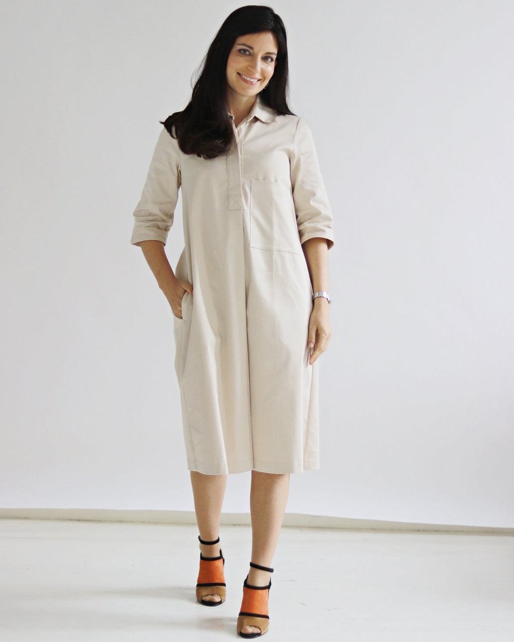 Ella Creme Dress - Sarah Feldman Modest Clothing