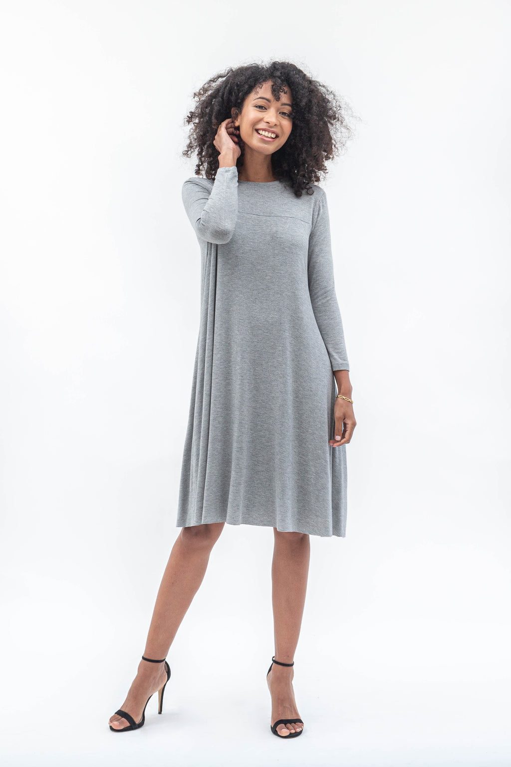 Laya Grey Melange Dress - Sarah Feldman Modest Clothing