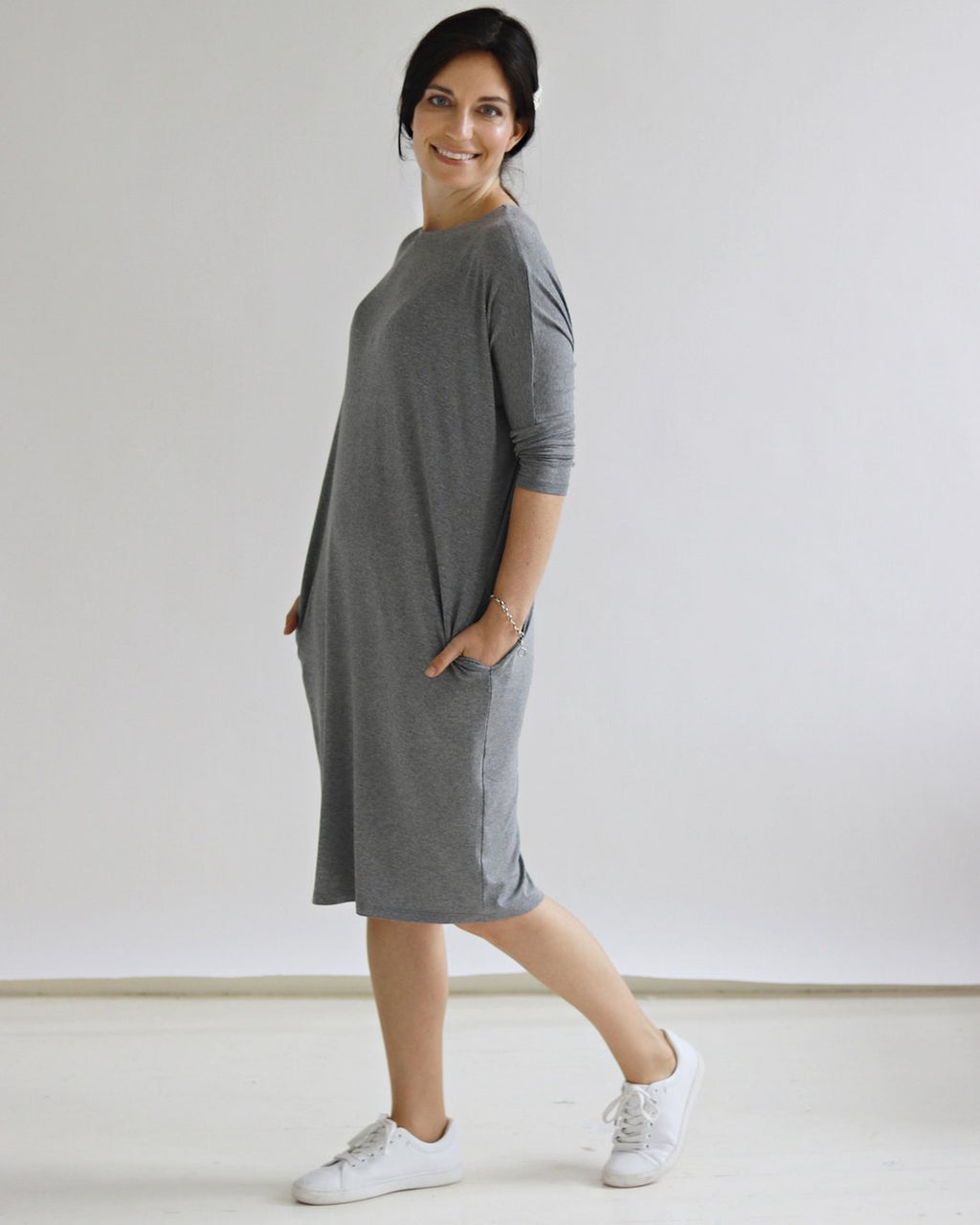 Yaffa Grey Melange Dress - Sarah Feldman Modest Clothing
