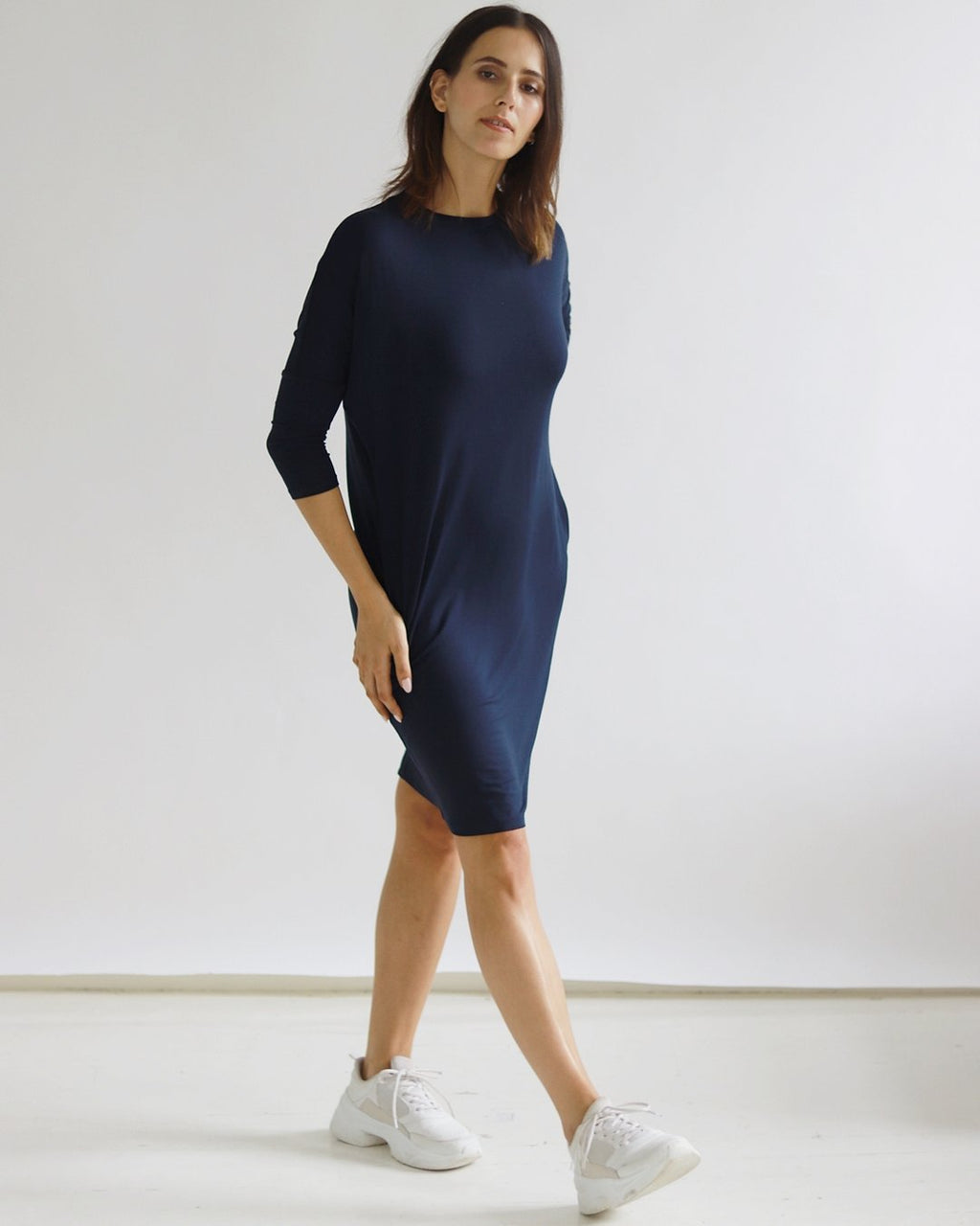 Yaffa Navy Dress - Sarah Feldman Modest Clothing