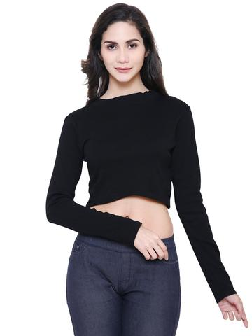 Black Polo Organic Cotton Crop Top