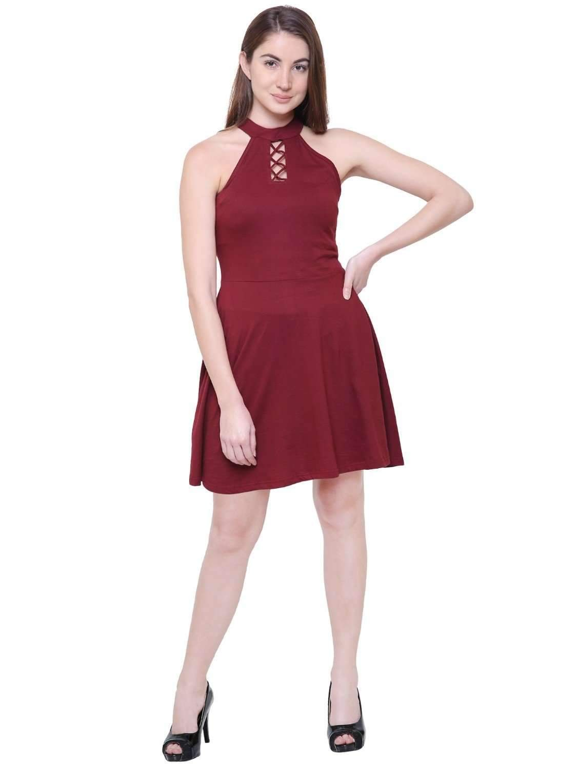 Maroon Criss Cross Lace Design Halter Neck Dress
