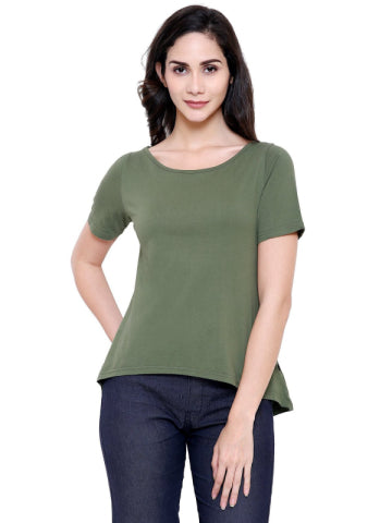 COA Olive Green A Line Organic Cotton Top