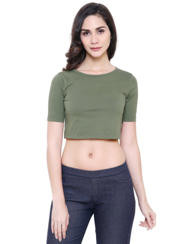 COA Olive Green Organic Cotton Crop Top