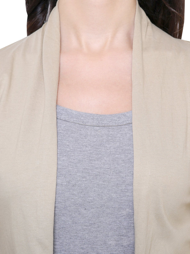 Beige Long Island Shrug Ethical Clothing-COA
