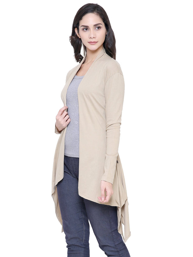 COA Organic Clothing Women Beige Long Island Shrug