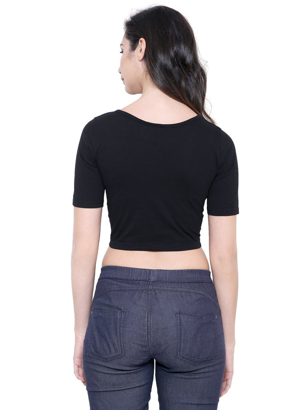 COA Black Organic Cotton Ethical Clothing Crop Top