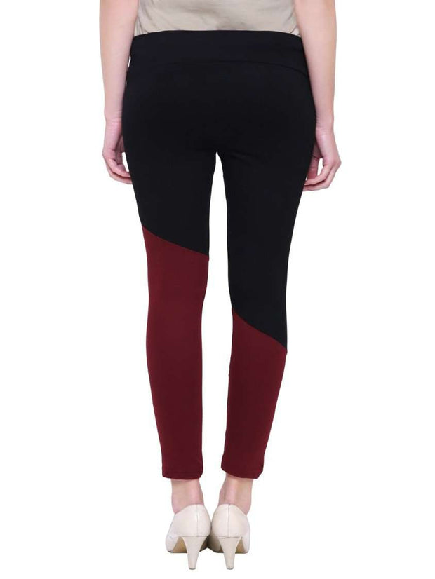 "Black & Maroon ""Activewear"" Yoga Pants"