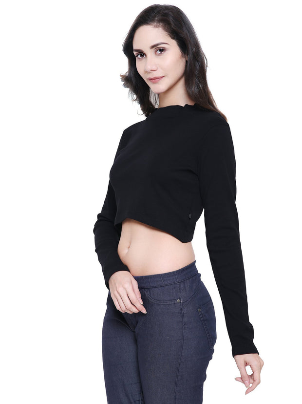 Black High tide Mock Neck organic cotton crop Top Gots certified at coastore.in