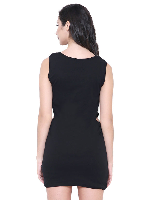 Black Organic Cotton sustainable fashion Bodyfit mid thigh Dress
