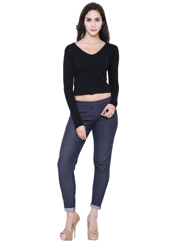 Black V-neck Organic Cotton Fair trade Clothing Crop Top