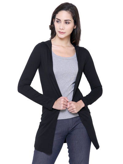 Organic Cotton Black Hoodie Shrug