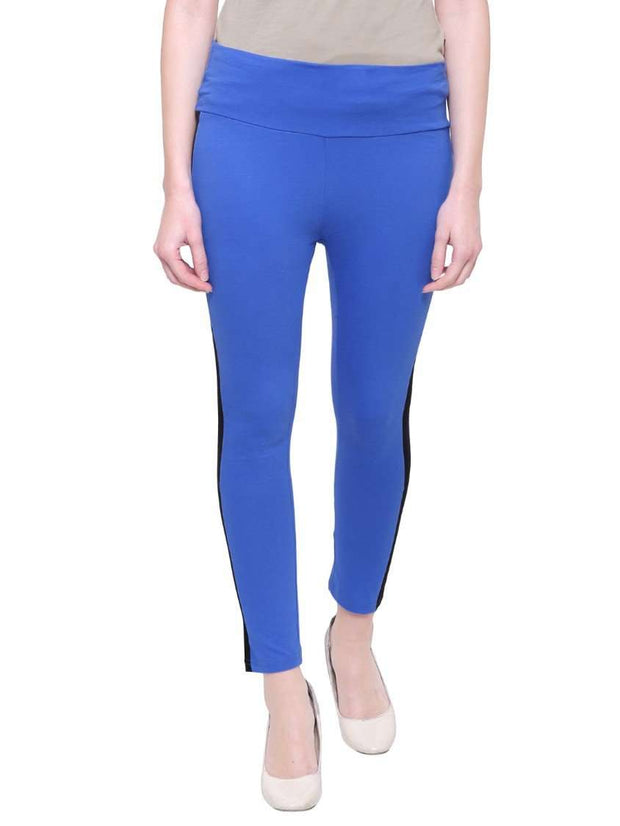 "Blue & Black ""Contrast stitch"" Yoga Pants"