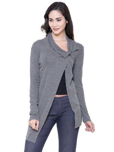 Charcoal Grey Organic Cotton Pullover Button Shrug