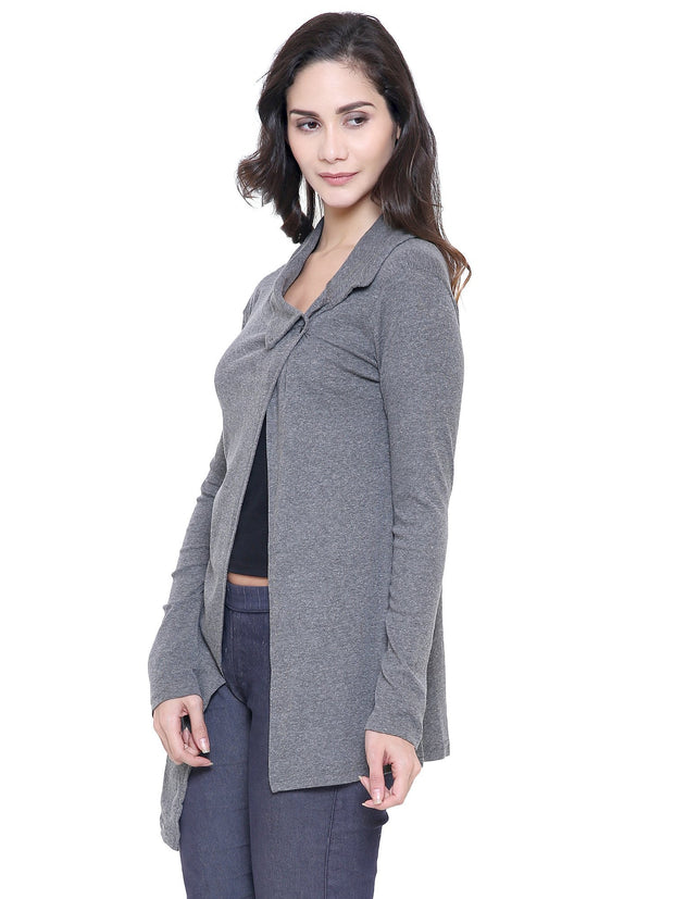 Grey Organic Cotton Cross closure button shrug