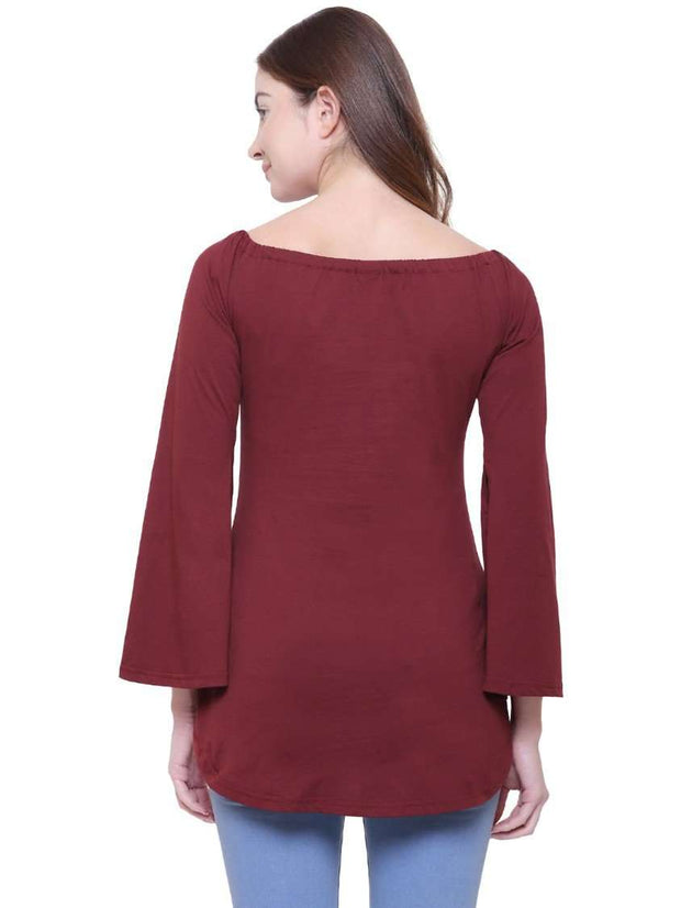"Maroon ""Hustle Ready"" Off Shoulder Top"