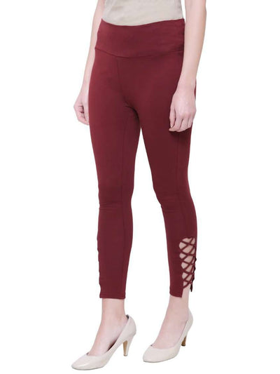 "Maroon ""Lace-up"" Yoga Pants"