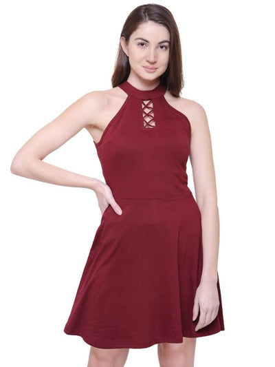"Maroon ""Like what you see"" Halter Dress"