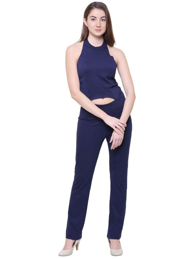 "Navy Blue ""Done in one"" Halter Jumpsuit"
