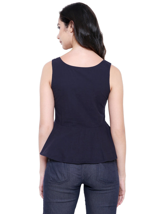 COA Navy Blue Sustainable Fashion Organic Cotton Peplum Top