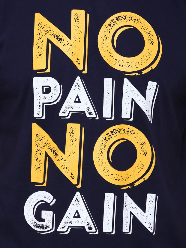 Navy Blue No Pain No Gain Organic Cotton T-shirt