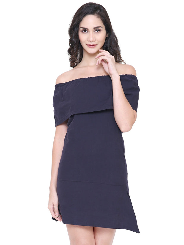 Organic Clothing COA Navy blue Off-Shoulder eco-friendly Dress