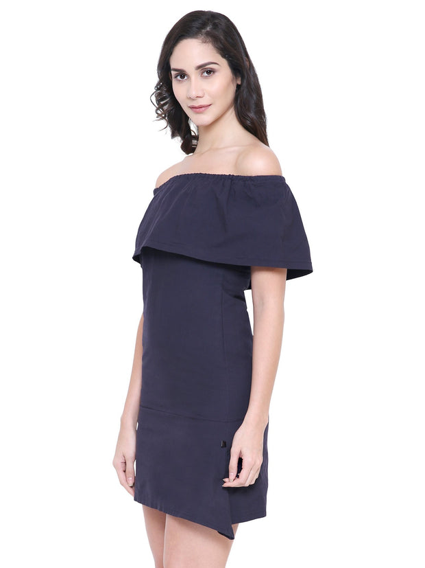 Navy blue Off-Shoulder organic cotton Dress