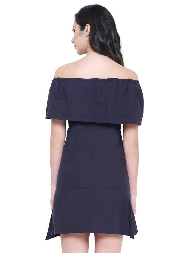 Navy blue Off-Shoulder sustainable organic fashion Dress