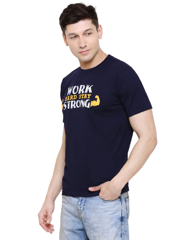 Navy Blue Work Hard Stay Strong Organic Cotton T-shirt