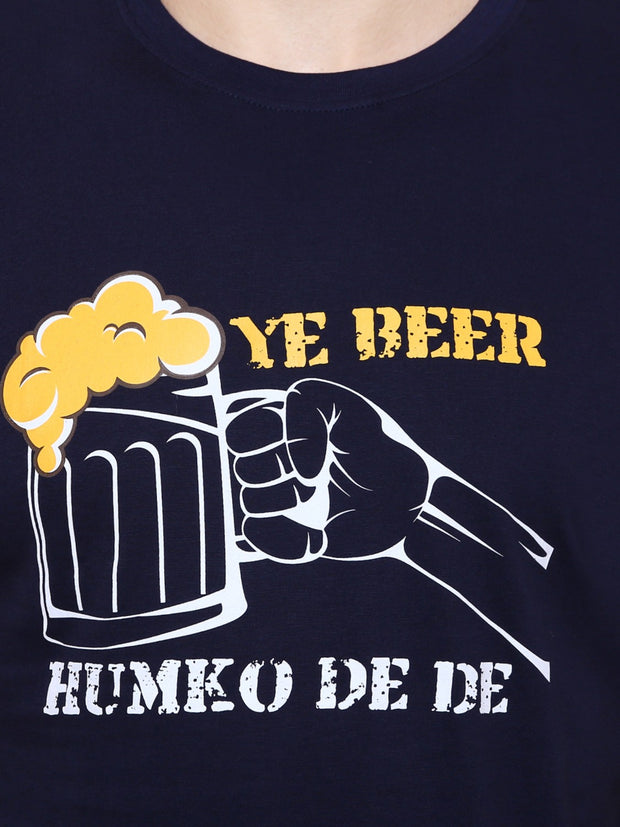 Navy Blue Ye Beer Humko De De Organic Cotton T-shirt