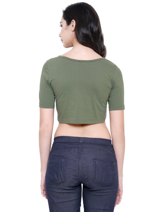 Olive Green Sustainable Organic Fashion Crop Top