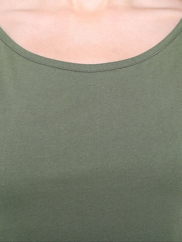 Olive Green Beautiful Fairtrade Organic Cotton A-Line Top
