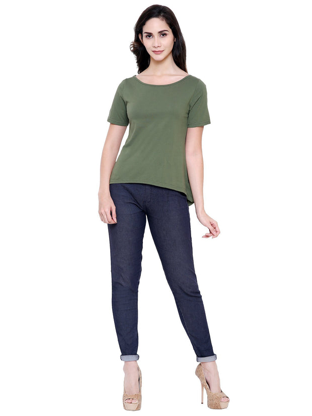 Olive Green A Line Top