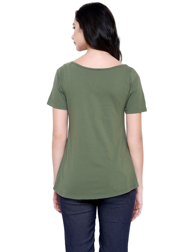 Olive Green Beautiful Organic Fashion A-Line Top