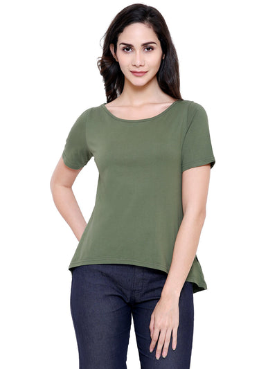 Olive Green A Line Organic Cotton Top