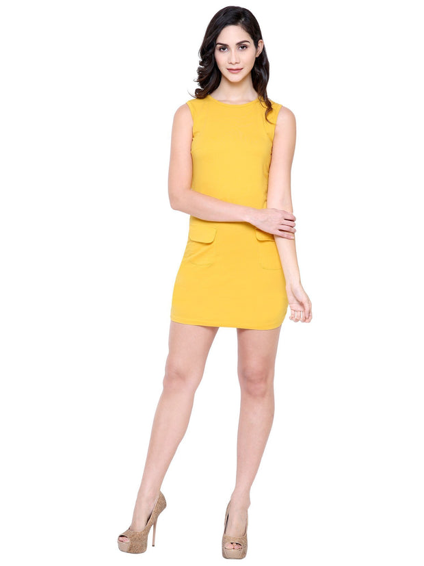 Yellow Organic Cotton Eco friendly bodycon dress