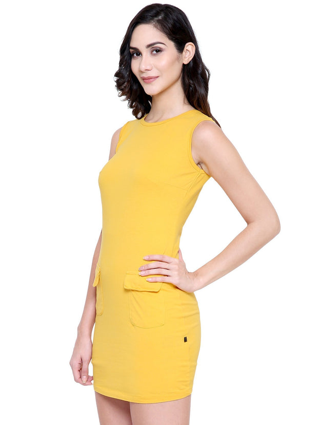 COA Yellow Bodyfit Organic Fashion Dress