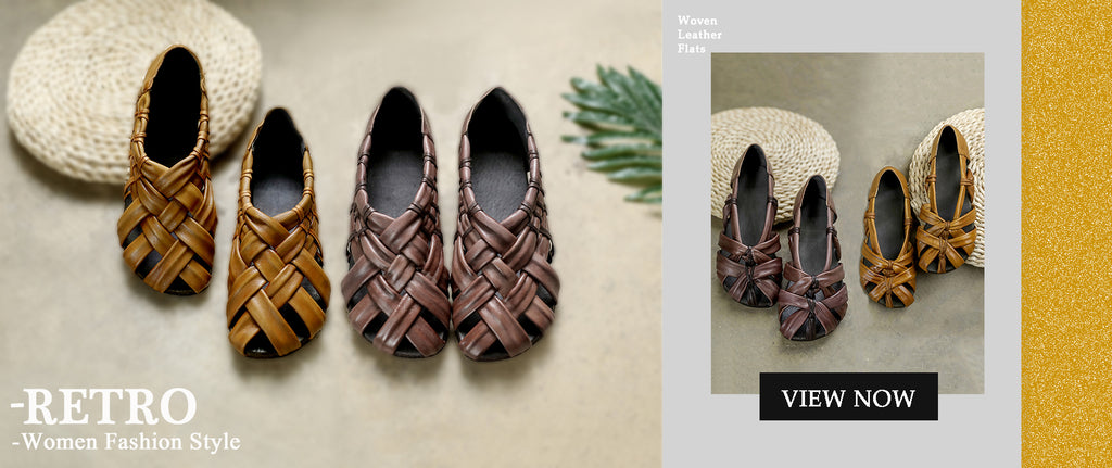 Retro Woven Leather Flats Shoes For Women
