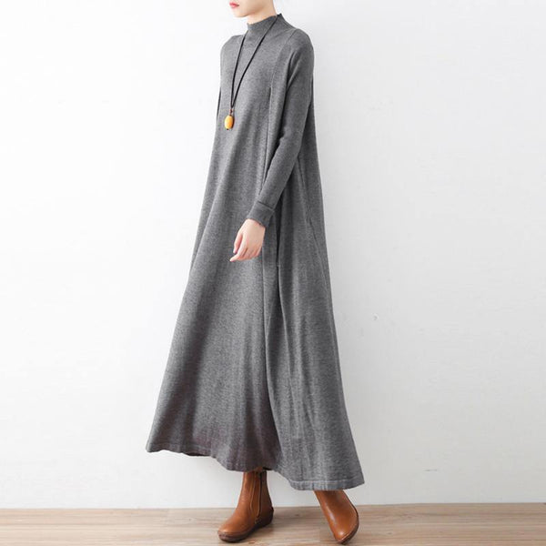 2020 Autumn Art Loose High Heck Knitted Dress August 2020-New Arrival