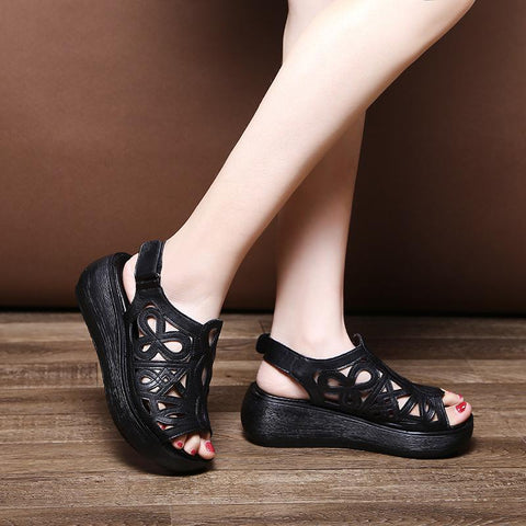 2020 Spring, Summer And Autumn New Casual Leather Sandals August 2020-New Arrival 35 BLACK