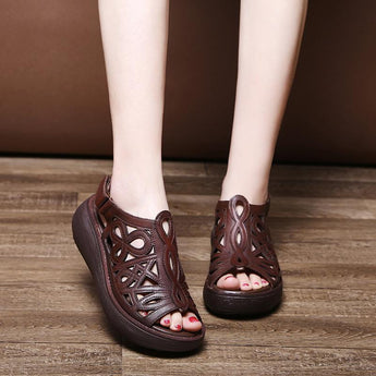 2020 Spring, Summer And Autumn New Casual Leather Sandals August 2020-New Arrival 35 BROWN