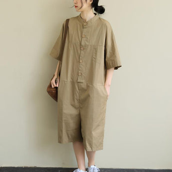 Artistic loose casual large Size Cropped Thin Jumpsuit April 2020-New Arrival One Size Khaki