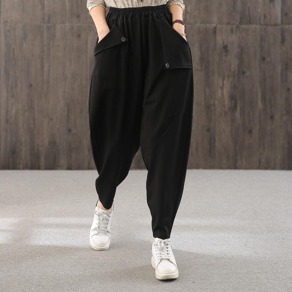 Asymmetrical Pocket Design Loose Black Sweatpants August 2020-New Arrival