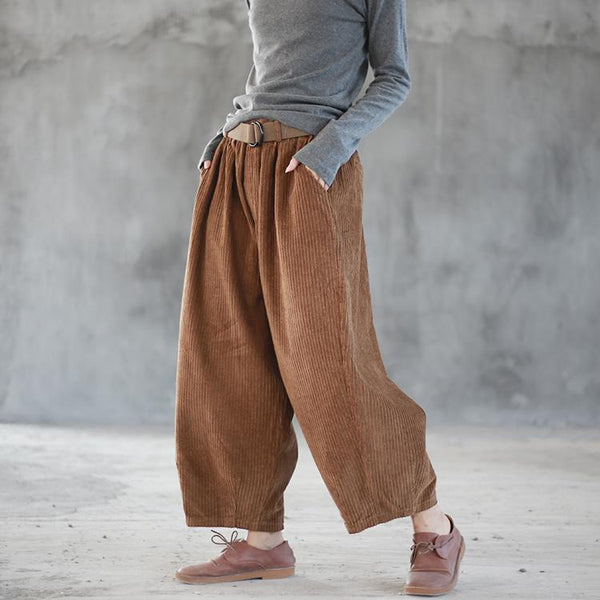 Autumn And Winter Retro Corduroy Casual Pants Elastic Waist OCT