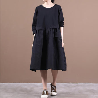 Autumn Baggy One Pocket Long Sleeve Dress August 2020-New Arrival M Black