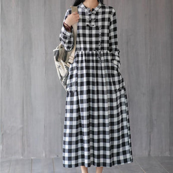 Autumn Cotton and Linen Printed Long Sleeve Dress September 2020 new arrival black grid