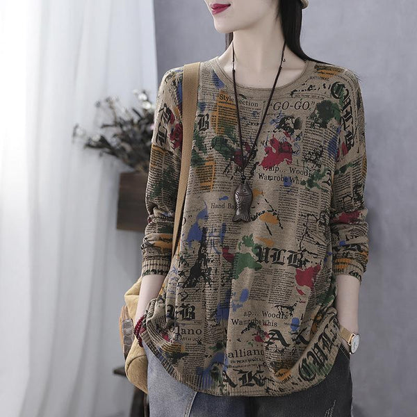 Autumn Long Sleeve Vintage Letter Print Sweater July 2020-New Arrival One Size Khaki