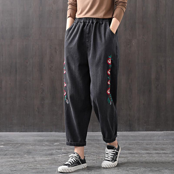 Autumn Loose Embroidery Harem Denim Trousers Nov 2020-New Arrival One Size Black