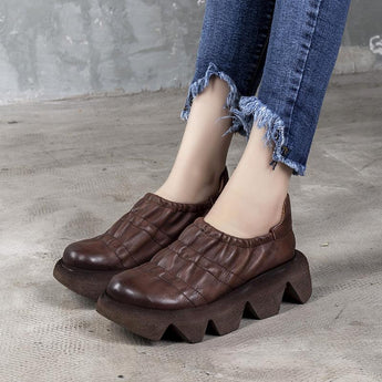 Autumn Single Shoes Cowhide Platform Shoes July 2020-New Arrival Coffee 35